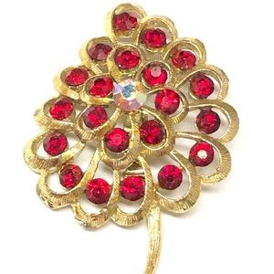 Jewelry - Gold Red Rhinestone Floral Brooch Pin